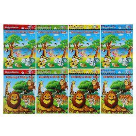 Раскраска формат A6 10 листов с наклейками Животные МИКС Ош