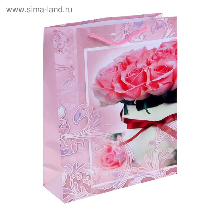 """Пакет ламинированный """"Розы в вазе"""""""