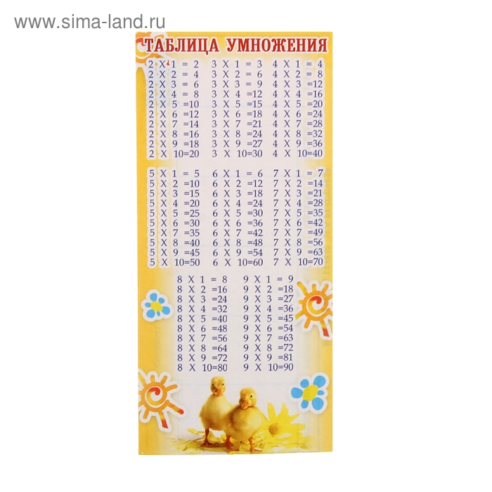 Мини-таблица умножения, с расписанием на обороте