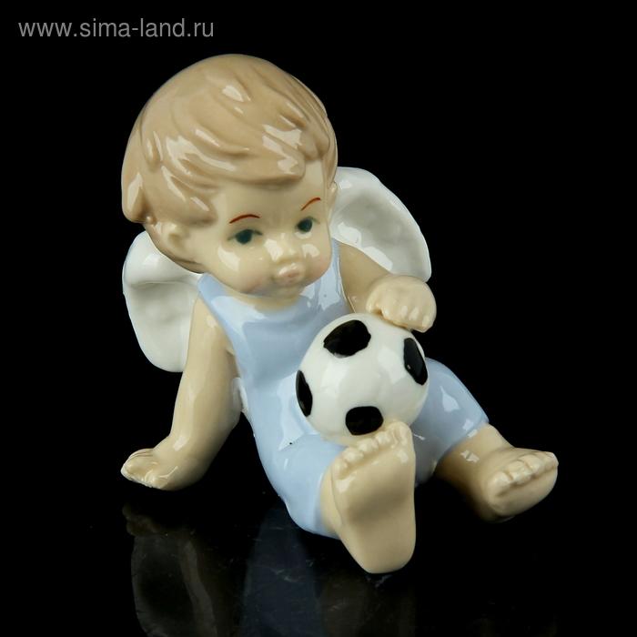 """Сувенир """"Ангел в голубом комбезике с футбольным мячом"""""""