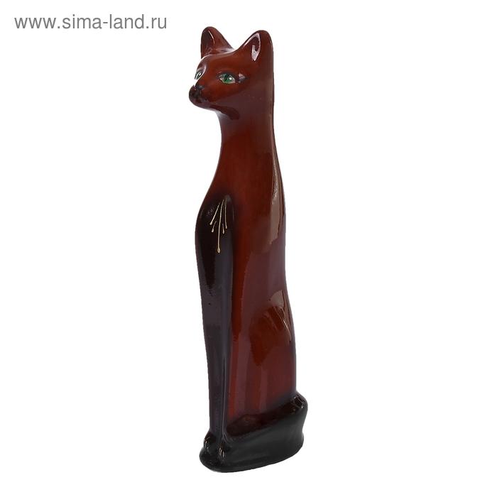 """Копилка """"Кот"""" средняя, коричневая, глянец"""