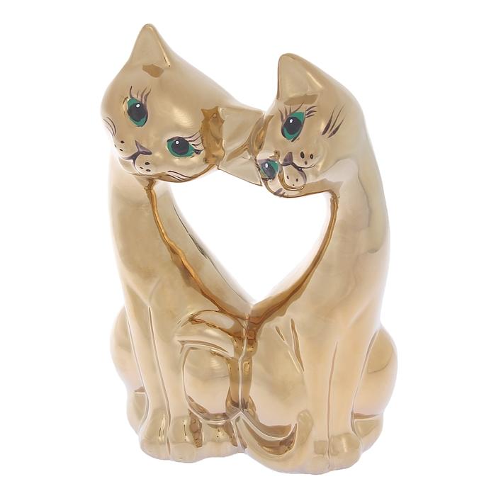 "Сувенир ""Коты"" сердце, булат, золото"
