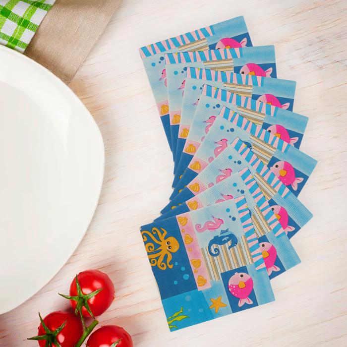 """Салфетки бумажные """"Море"""", набор 20 шт., 33 × 33 см"""
