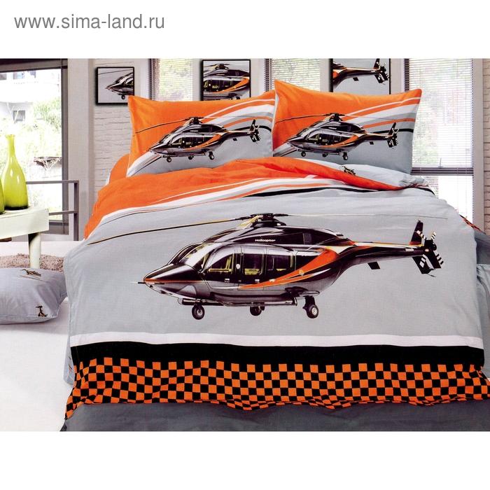 """Постельное бельё """"Этелька 3Д"""" 1,5 сп., Вертолет, размер 155х205 см, 160х210 см, 50х70 см, 100% хлопок, сатин"""