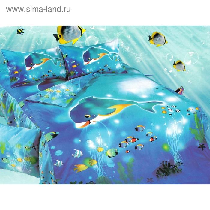 """Постельное бельё """"Этелька 3Д"""" 1,5 сп., Подводный мир, размер 155х205 см, 160х210 см, 50х70 см, 100% хлопок, сатин"""