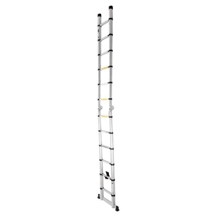 Лестница телескопическая TUNDRA premium, 1.9 х 1.9 м, алюминиевая, шарнирная