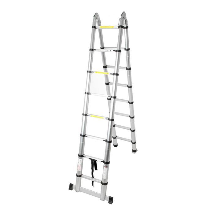 Лестница телескопическая TUNDRA premium, 2.5 х 2.5 м, алюминиевая, шарнирная