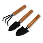 Набор садового инструмента, 3 предмета: рыхлитель, 2 совка, длина 20 см, деревянные ручки