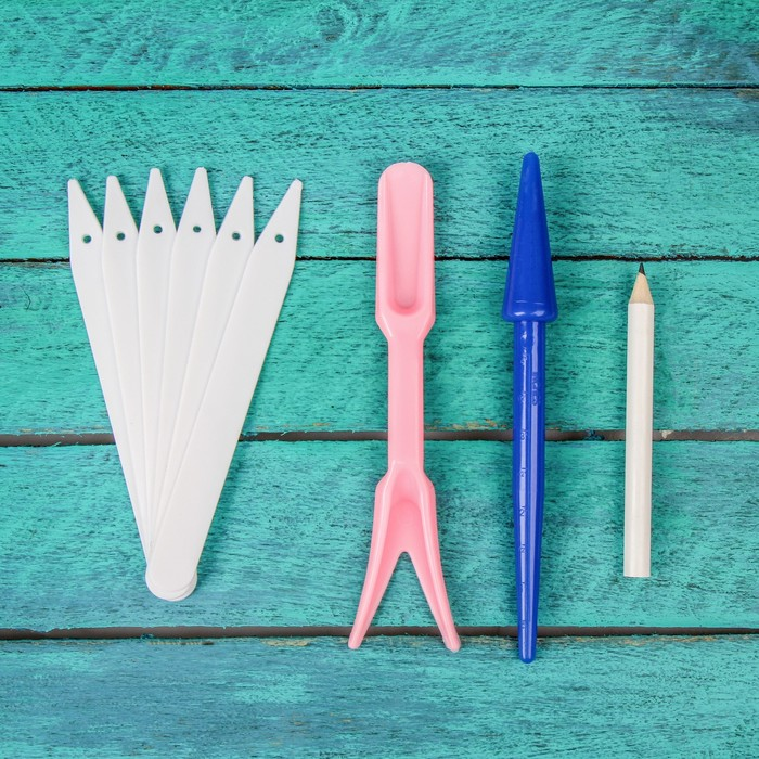 Набор для пикировки: ярлыки садовые для маркировки - 30 шт., корнеудалитель, конус посадочный, пластик
