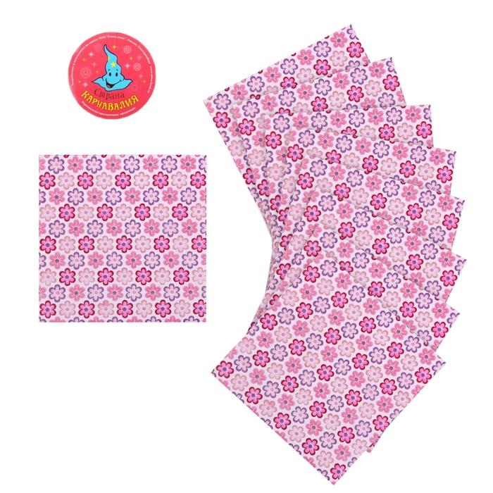 """Салфетки бумажные (набор 20 шт) """"Цветочки""""розовые 33*33 см"""