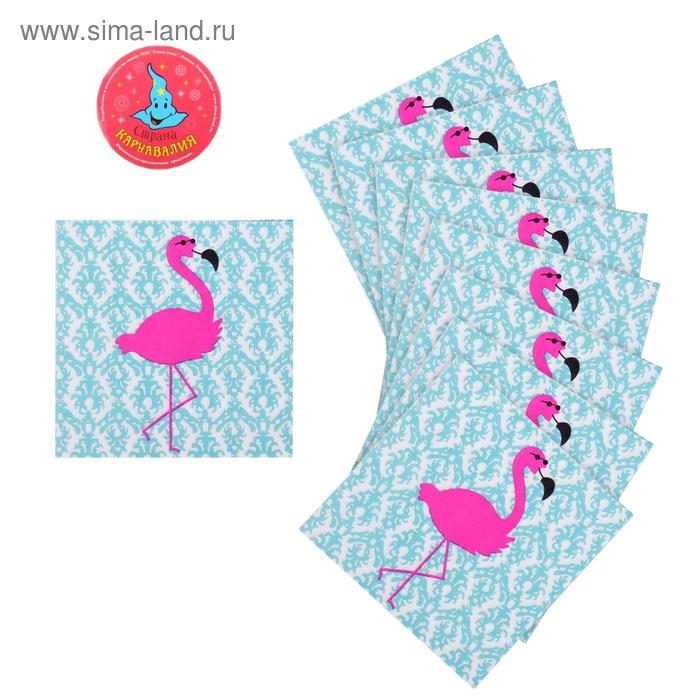 """Салфетки бумажные (набор 20 шт) """"Розовый фламинго"""" 33*33 см, цвет бирюзовый"""