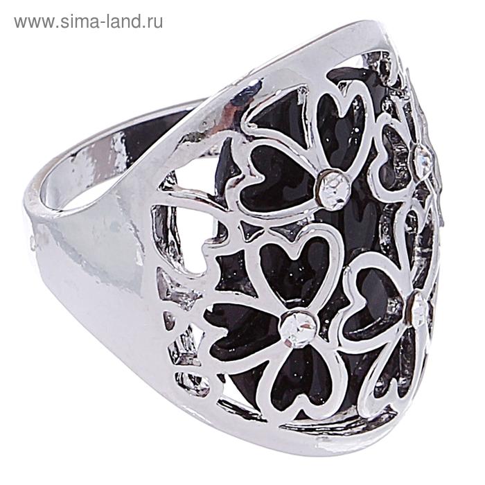 """Кольцо """"Цветы"""", цвет чёрный в серебре, размер МИКС"""