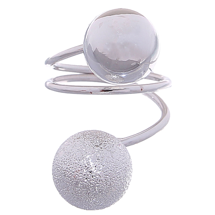 """Кольцо """"Шарики"""" спираль, цвет серебро, размер МИКС"""