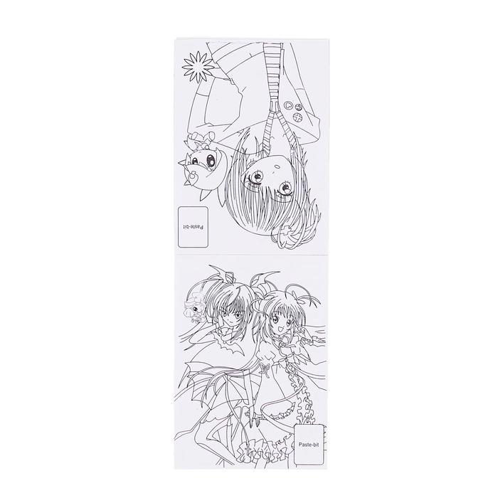 Раскраска формат А6 8 листов+1 лист с наклейками Анимэ МИКС