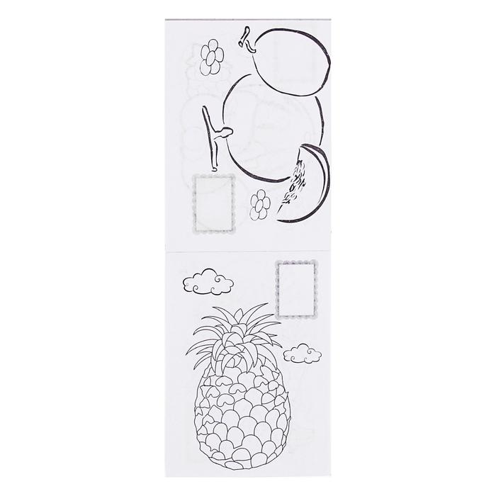 Раскраска формат А6 8 листов+1 лист с наклейками Фрукты МИКС