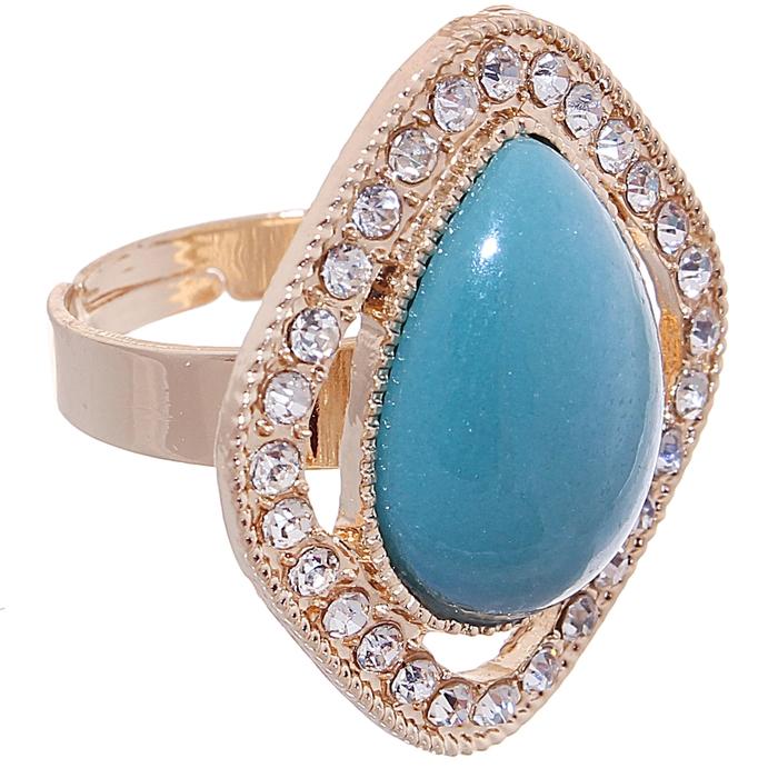"""Кольцо """"Ромб"""", цвет голубой в золоте, безразмерное"""