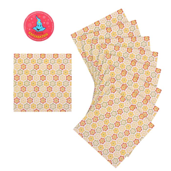 """Салфетки бумажные (набор 20 шт) """"Цветочки"""" желтые 33*33 см"""