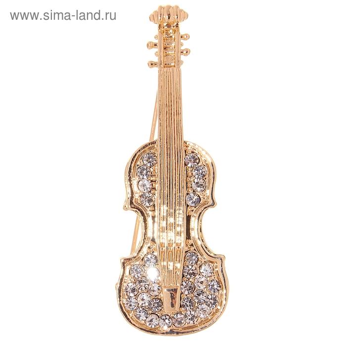 """Брошь """"Скрипка"""", цвет белый в золоте"""