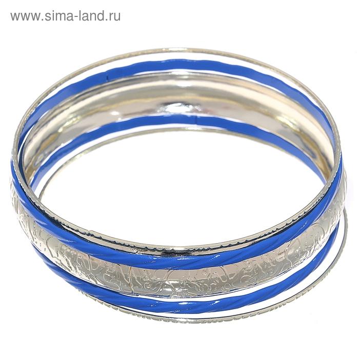 """Браслет-кольца 5 колец """"Резное кольцо"""", цвет синий в серебре"""