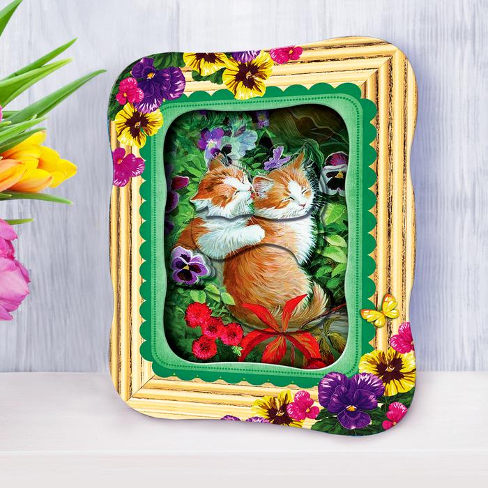 "3D картина - объемная аппликация ""Счастливые котята"""