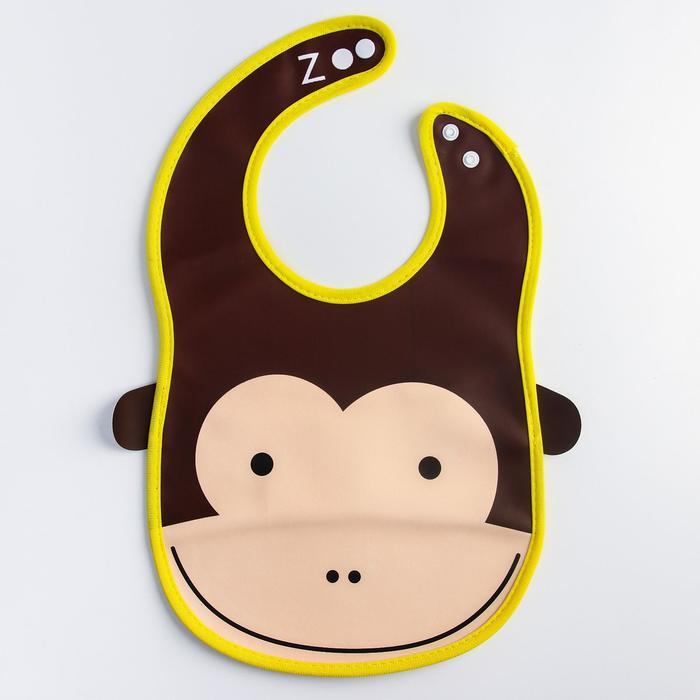Нагрудник «Обезьянка» из клеёнки, с отворачивающимся карманом, на регулируемых кнопках - фото 105449360