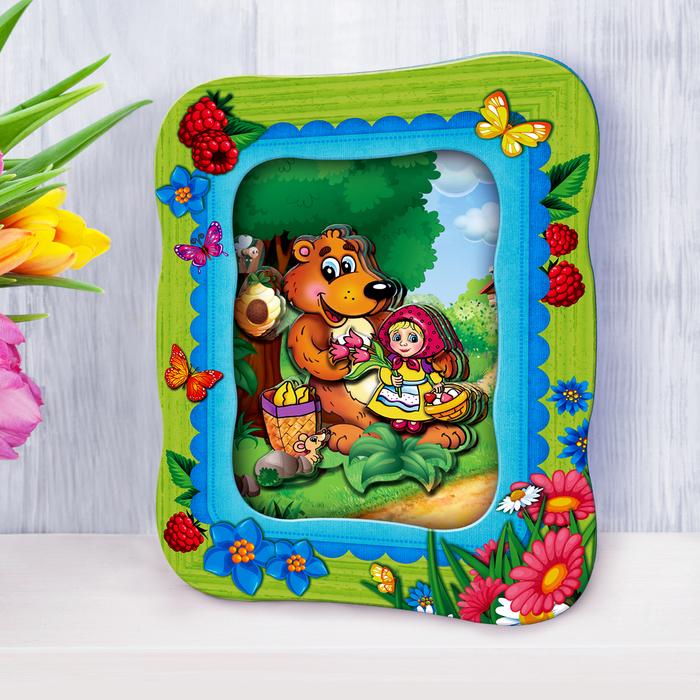 """3D картина - объемная аппликация """"Машенька и медведь"""""""