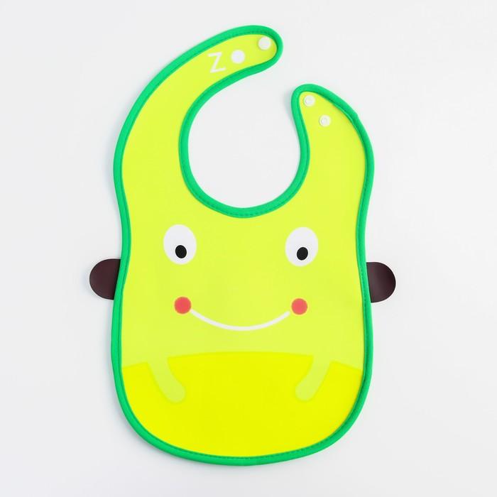 Нагрудник с карманом «Лягушка» из клеёнки, на кнопках - фото 105449273