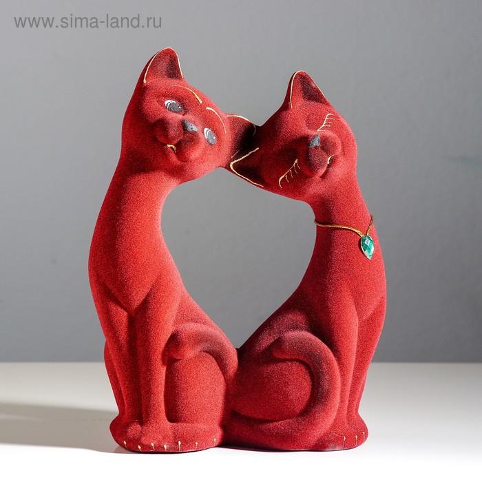 """Копилка """"Влюбленная пара"""" большая, флок, бордовая, розовый страз"""