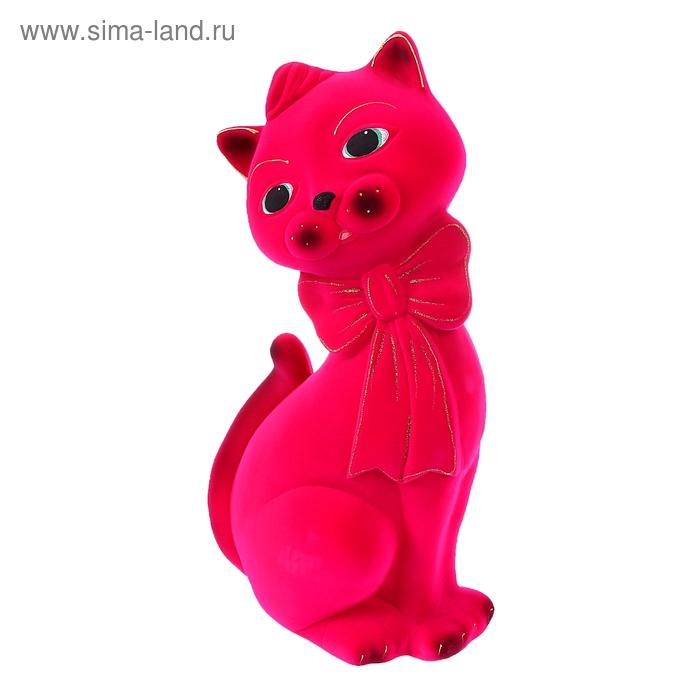 """Копилка """"Кот Джаспер"""" большая, флок, розовая"""