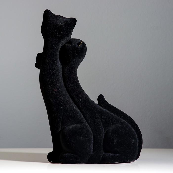 "Копилка ""Коты"" пара, флок, чёрная, бабочка"