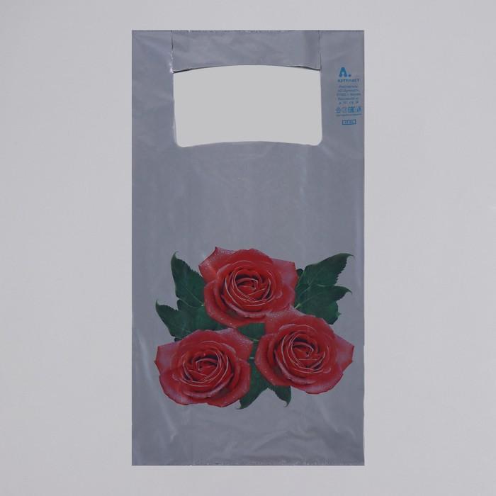 """Пакет """"Розы"""", полиэтиленовый, майка, 28 х 55 см, 35 мкм - фото 308517521"""