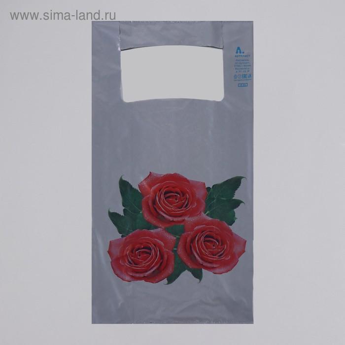 """Пакет """"Розы"""", полиэтиленовый, майка, 55х28 см, 35 мкм"""