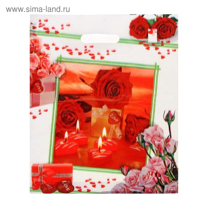 """Пакет """"Романтика"""", полиэтиленовый с вырубной ручкой, 36х45 см, 45 мкм"""