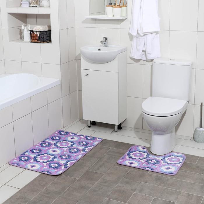 Набор ковриков для ванны и туалета «Фиолетовые цветы», 2 шт: 40×50, 50×80 см