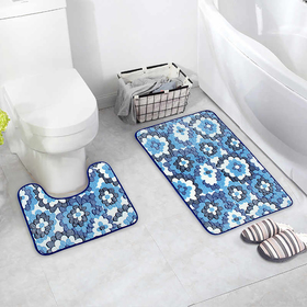 """Set of floor mats for bathroom and toilet """"Blue flowers"""" 2-piece"""