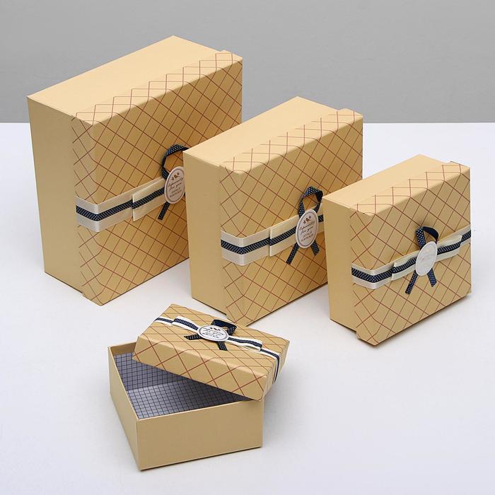 """Набор коробок 4 в 1 крафт """"Сетка"""", 26,5 х 26,5 х 12 - 15 х 15 х 7,5 см - фото 725781906"""
