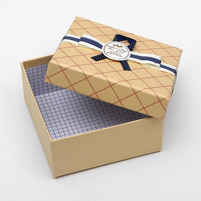 """Набор коробок 4в1 крафт """"Сетка"""", 26,5 х 26,5 х 12 - 15 х 15 х 7,5 см"""