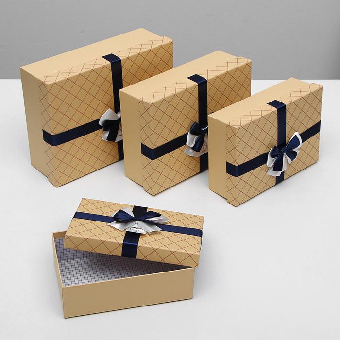 """Набор коробок 4 в 1 крафт """"Сетка"""", 32,5 х 24,5 х 11 - 23 х 15 х 7,5 см - фото 725781908"""