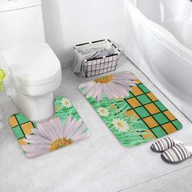 Набор ковриков для ванны и туалета Доляна «Ромашки», 2 шт: 40×50, 50×80 см