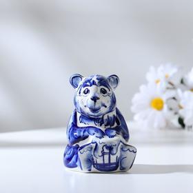 Сувенир «Медведь с медом», 9 см, гжель в Донецке