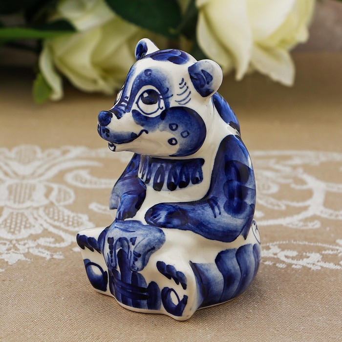 Сувенир «Медведь с медом», 9 см, гжель
