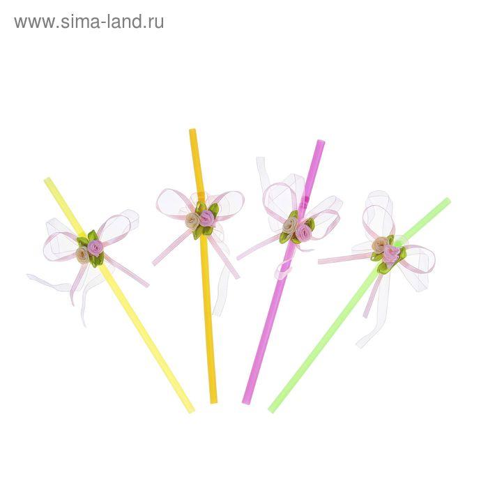 """Трубочки для коктейля """"Розы"""", набор 12 шт., цвета МИКС"""