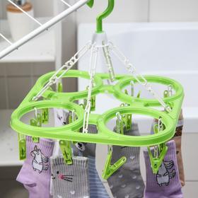 Сушилка для белья подвесная, 20 прищепок, цвет МИКС - фото 4634965