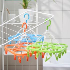 Сушилка для белья подвесная, 20 прищепок, цвет МИКС - фото 4634968