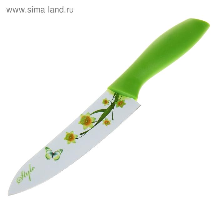 """Нож с антиналипающим покрытием 15,5 см """"Нарцисс"""", зеленый"""