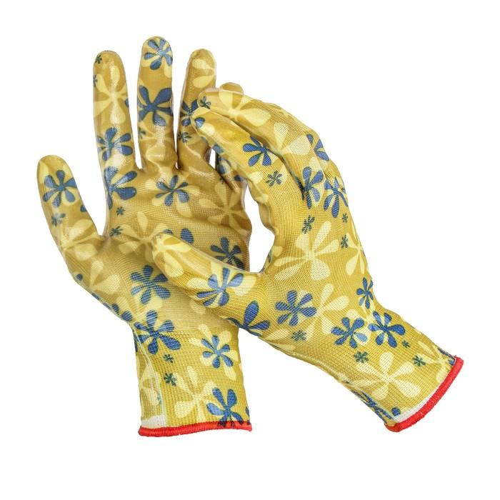 Перчатки нейлоновые, с латексной пропиткой, размер 10, цвет МИКС