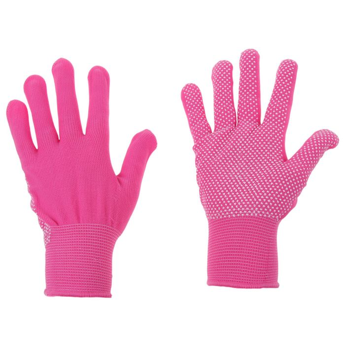 Перчатки, х/б, с нейлоновой нитью, с ПВХ точками, размер 9, розовые, «Точка»