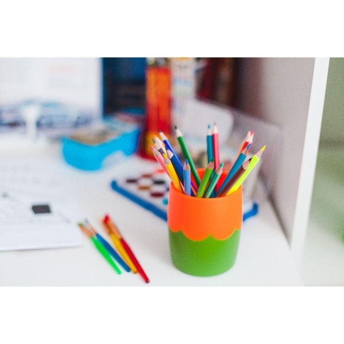 Стакан для пишущих принадлежностей двухцветный зелено-оранжевый