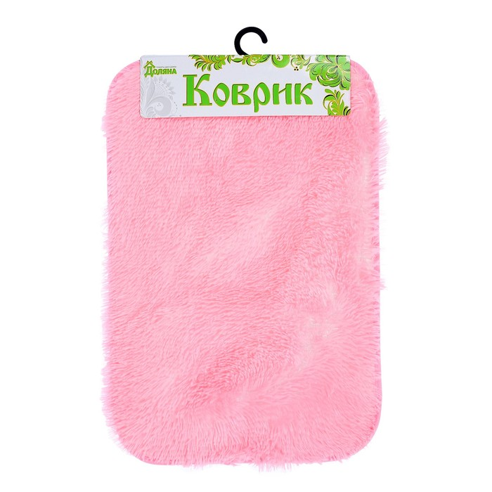 """Коврик для ванной """"Пушистик """", прямоугольный, цвет розовый"""