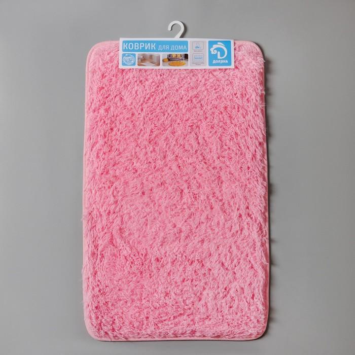 """Коврик для ванной """"Пушистик """" 50х80 см, прямоугольный, цвет розовый"""